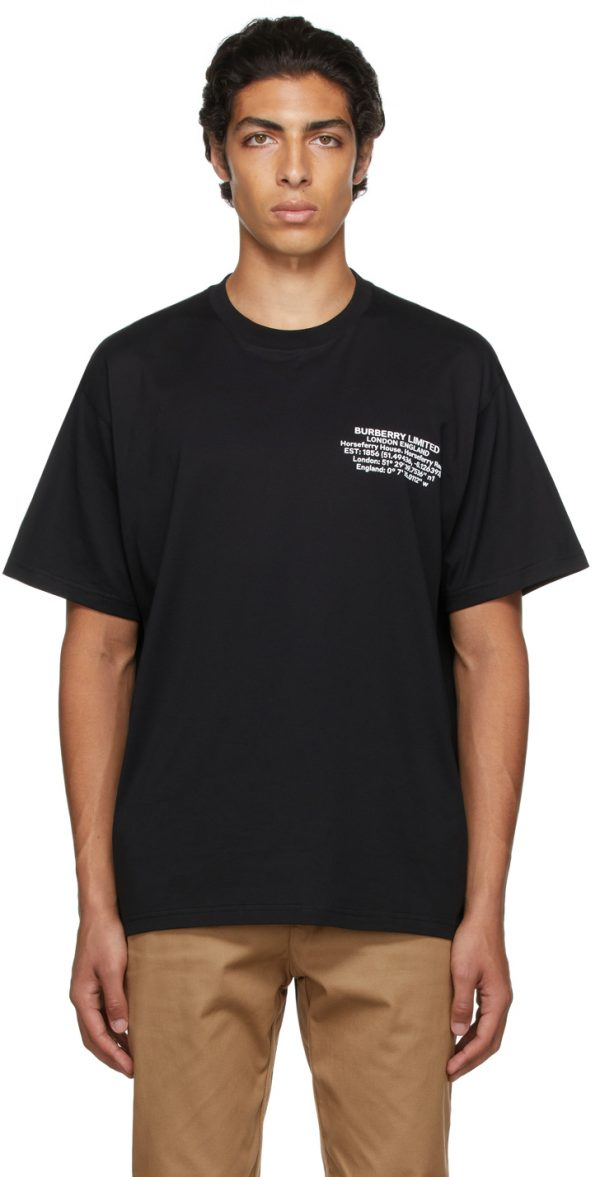 Burberry Black Oversized Location Print T-Shirt