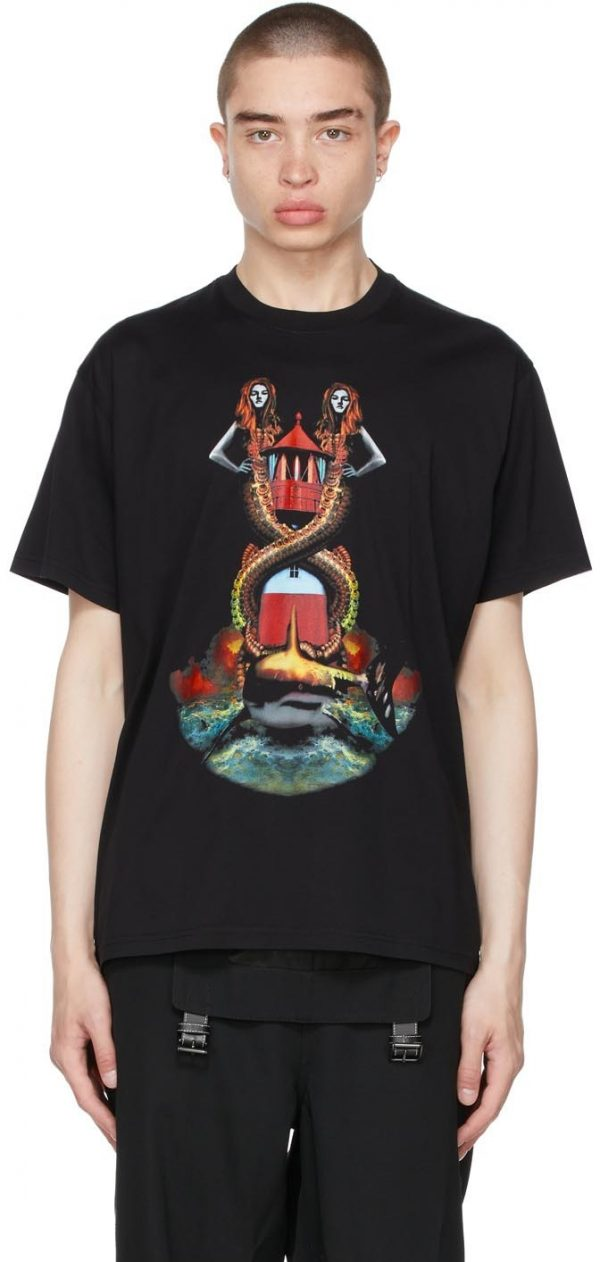 Burberry Black Oversized Mermaid Print T-Shirt