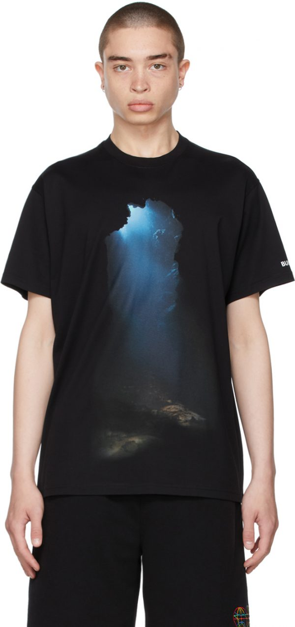 Burberry Black Oversized Montage Print T-Shirt
