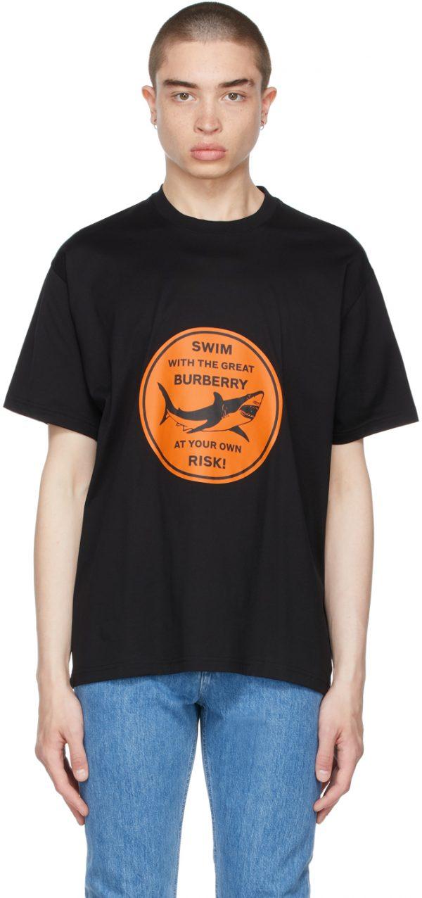 Burberry Black Oversized Shark Graphic T-Shirt