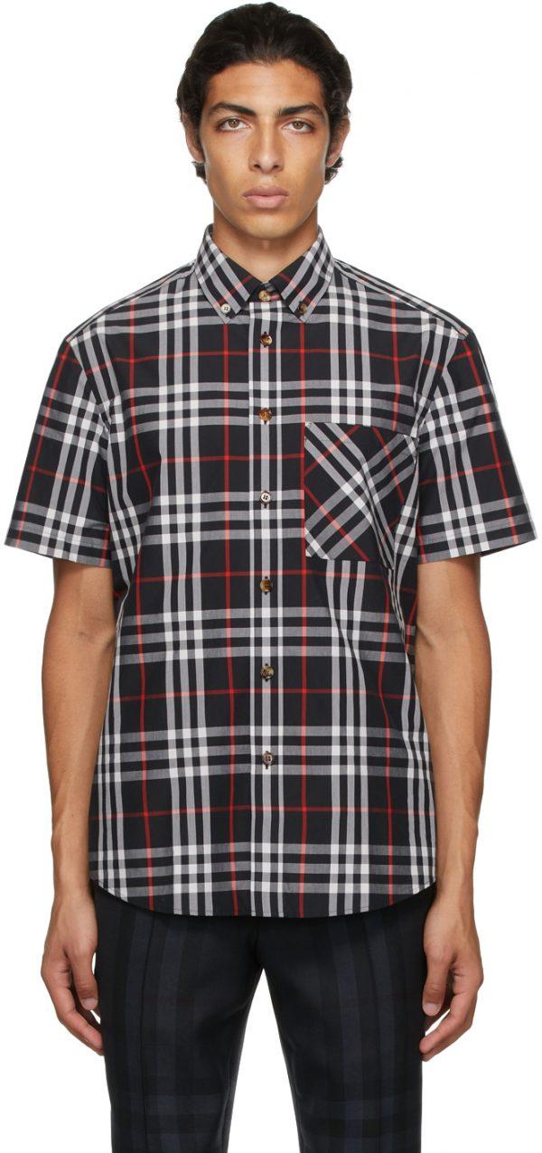 Burberry Black Poplin Check Short Sleeve Shirt