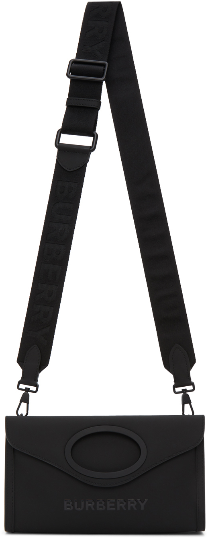 Burberry Black Rubber Foldover Pocket Bag
