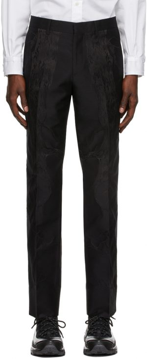 Burberry Black Silk Jacquard Tailored Classic Fit Trousers