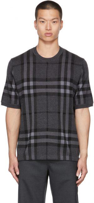 Burberry Black Silk & Wool Jacquard Check Top