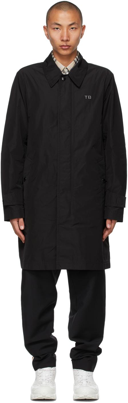 Burberry Black Taffeta TB Motif Car Coat