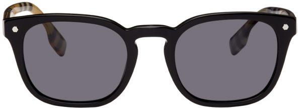 Burberry Black Vintage Check Square Sunglasses