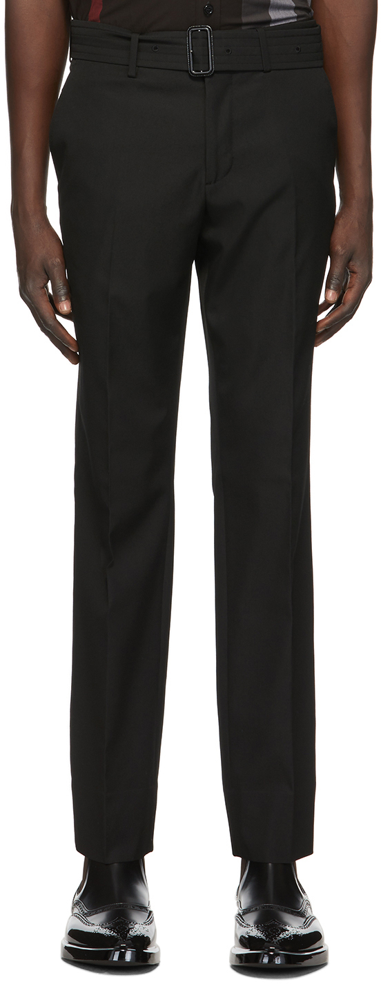 Burberry Black Wool Belted Trousers