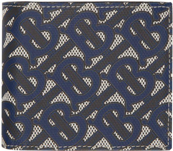 Burberry Black & Navy Canvas Monogram International Bifold Wallet