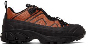 Burberry Black & Orange Leather Arthur Sneakers