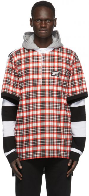 Burberry Black & Red Check Reconstructed Rugby shirt
