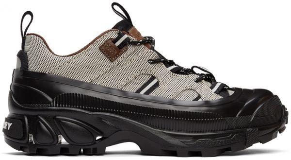 Burberry Black & White Canvas Arthur Sneakers