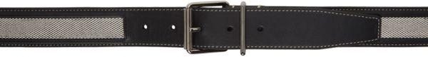 Burberry Black & White Canvas Calfskin Belt