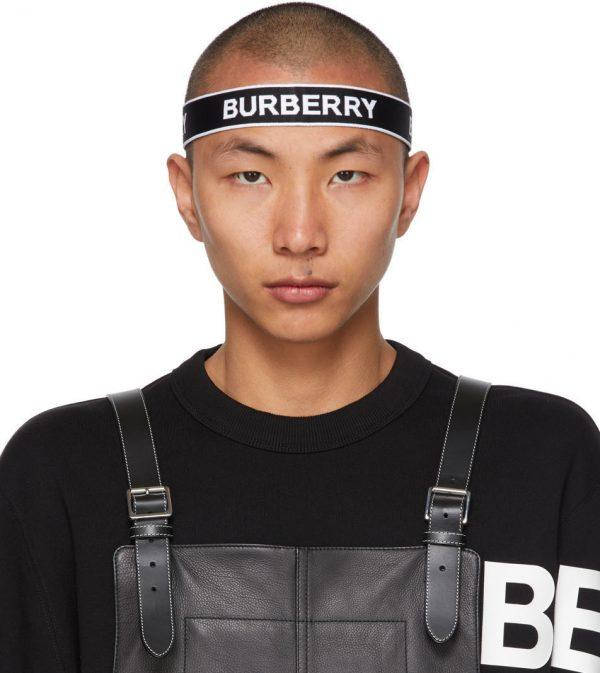 Burberry Black & White Jacquard Logo Headband