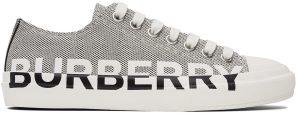 Burberry Black & White Logo Print Sneakers