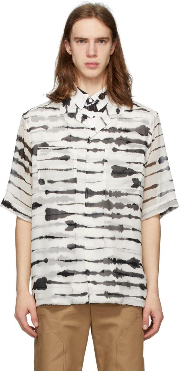 Burberry Black & White Silk Overlay Watercolor Shirt