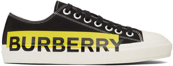 Burberry Black & Yellow Gabardine Larkhall Sneakers