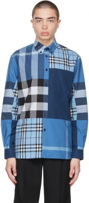Burberry Blue Check Patchwork Shirt