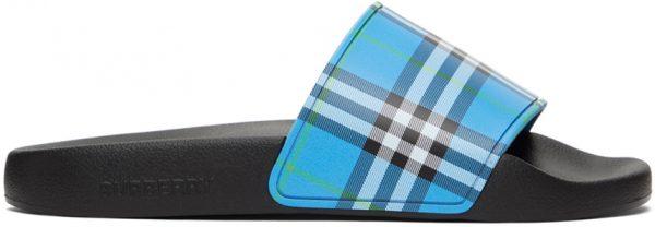 Burberry Blue Check Slides