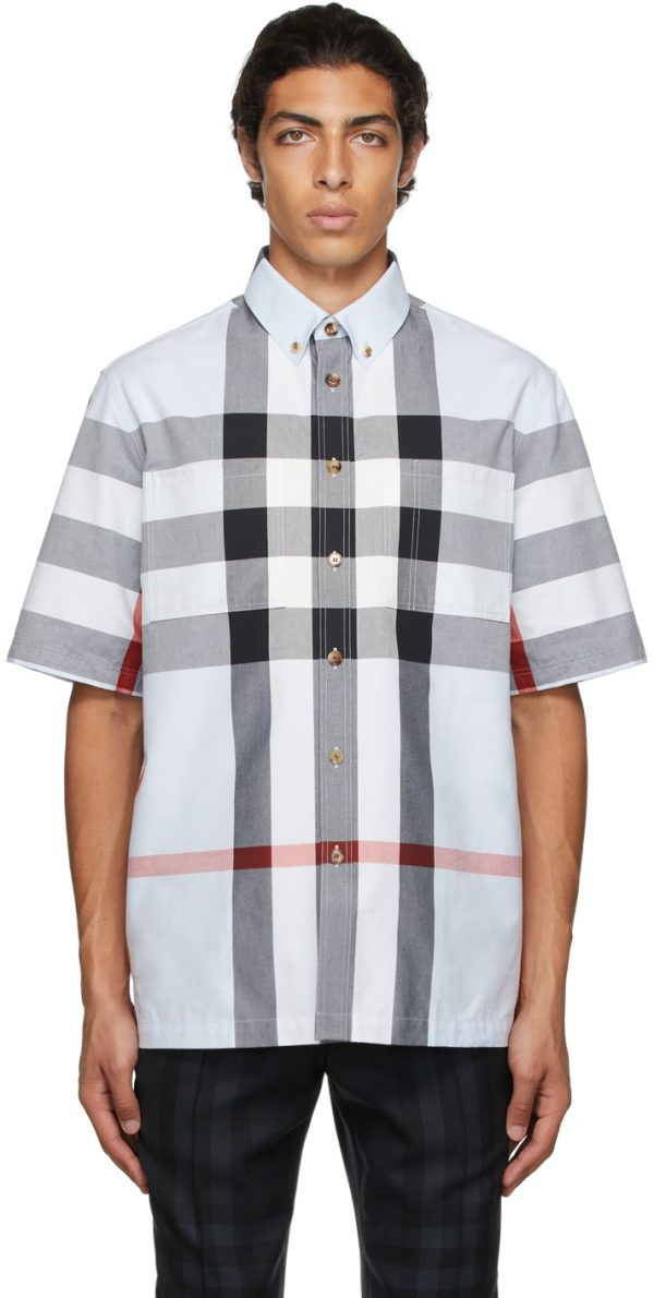 Burberry Blue Cotton Check Short Sleeve Shirt
