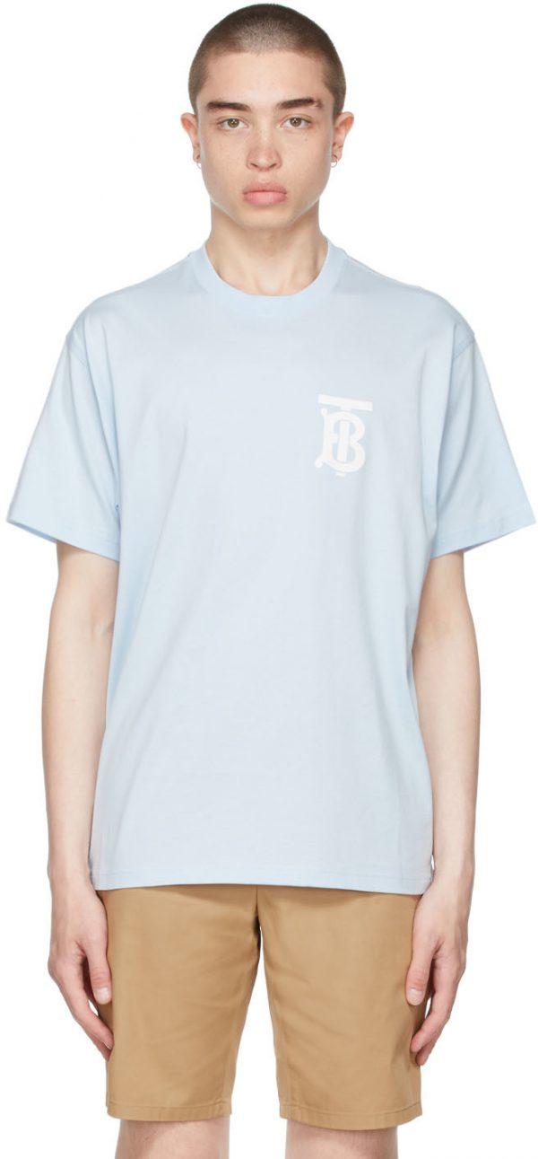 Burberry Blue Cotton Oversized TB T-Shirt