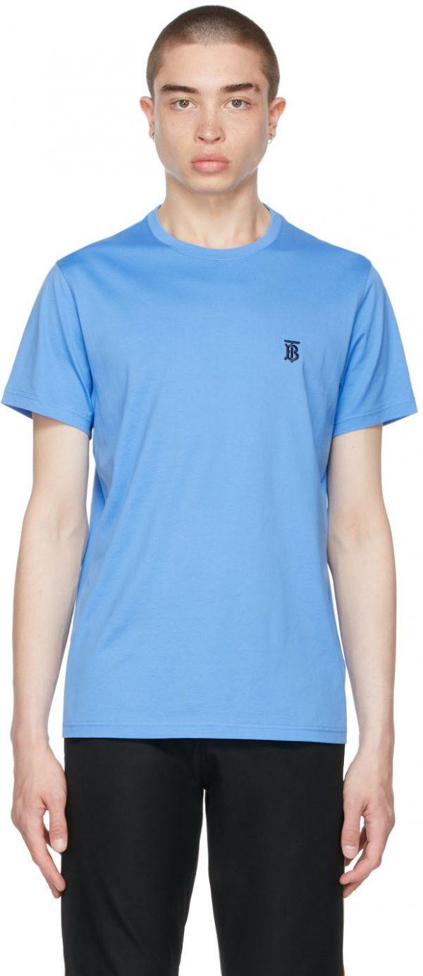 Burberry Blue Cotton TB T-Shirt