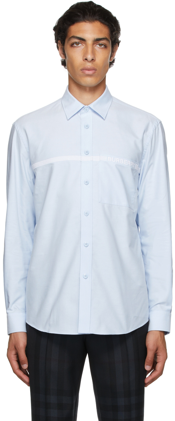 Burberry Blue Embroidered Logo Oxford Shirt