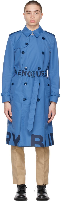 Burberry Blue Lightweight Logo Trench Coat