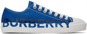 Burberry Blue Logo Print Sneakers