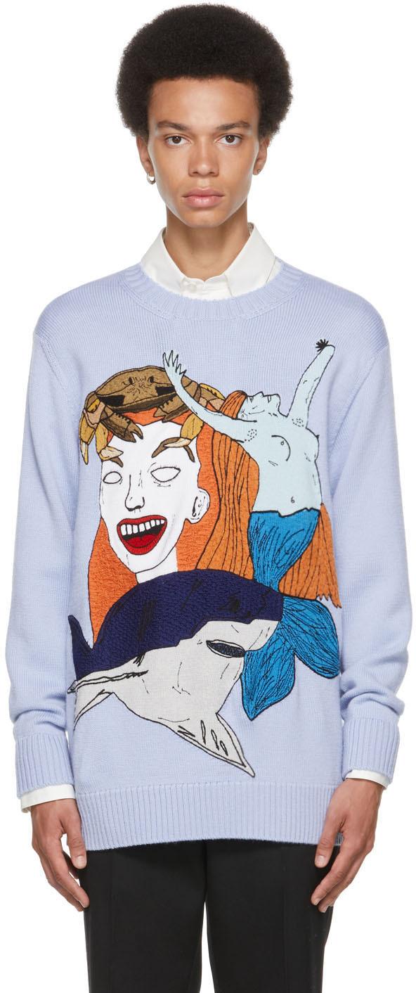 Burberry Blue Marine Sketch Sweater