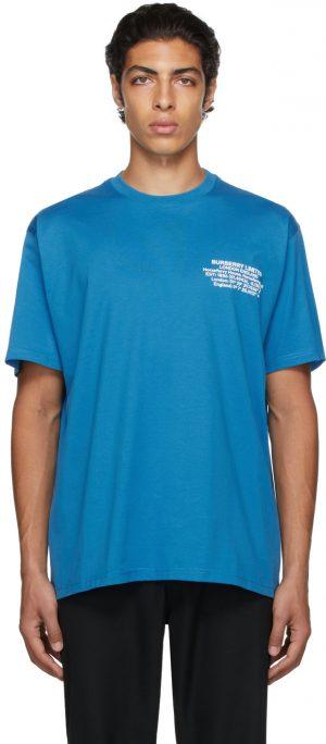Burberry Blue Oversized Location Print T-Shirt