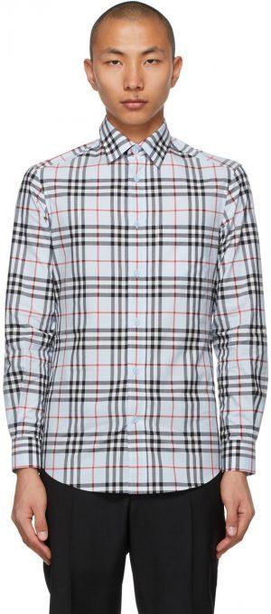 Burberry Blue Poplin Check Logo Appliqué Shirt