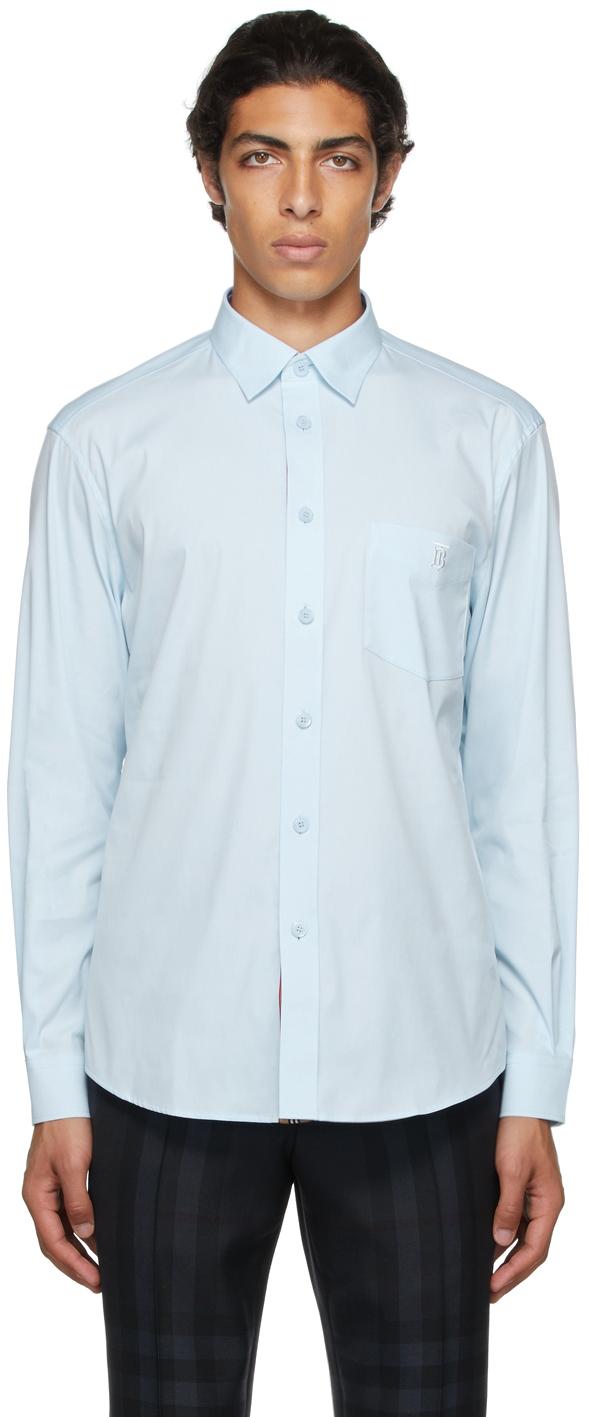 Burberry Blue Poplin Embroidered Monogram Motif Shirt