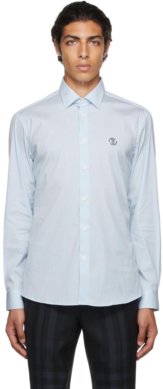 Burberry Blue & White Stripe Monogram Motif Shirt