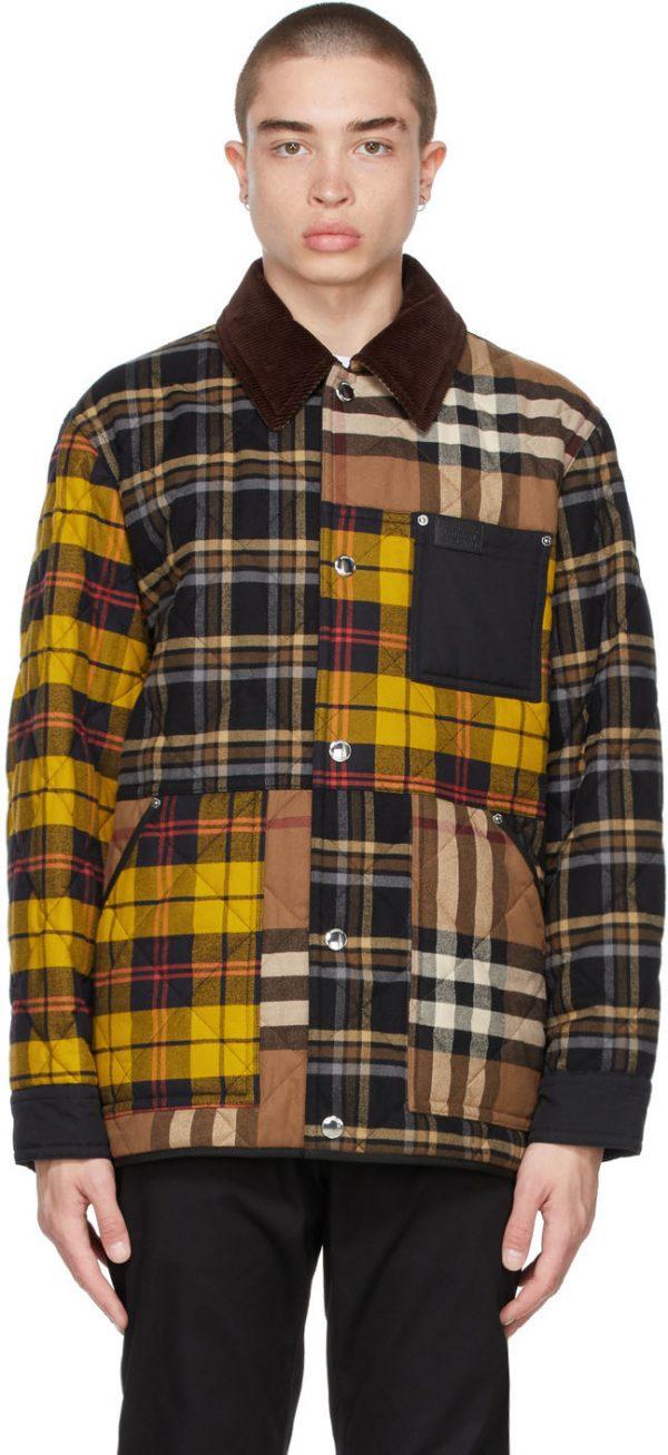 Burberry Brown Corduroy Collar Patchwork Jacket