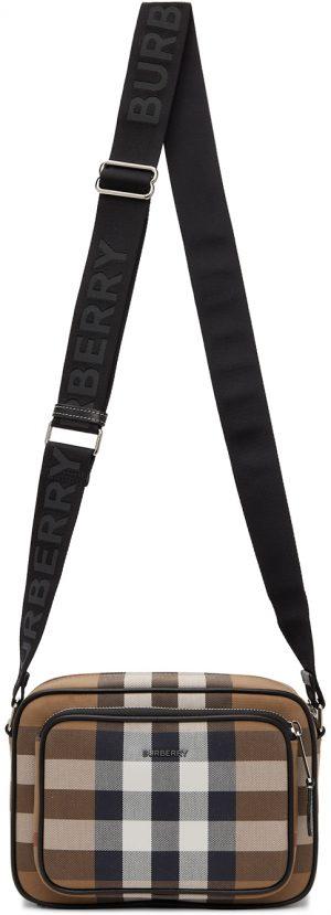 Burberry Brown Cotton Check Crossbody Bag