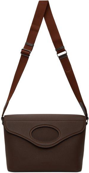 Burberry Brown Leather Pocket Messenger Bag