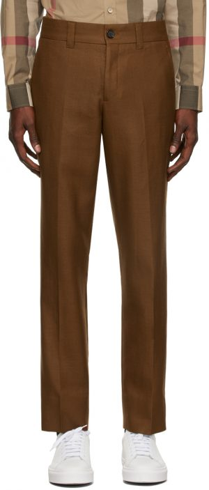 Burberry Brown Wool Cropped Tailored Trousers