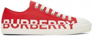 Burberry Gabardine Logo Print Low Sneakers