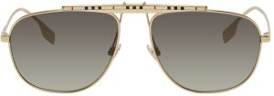 Burberry Gold Aviator Sunglasses