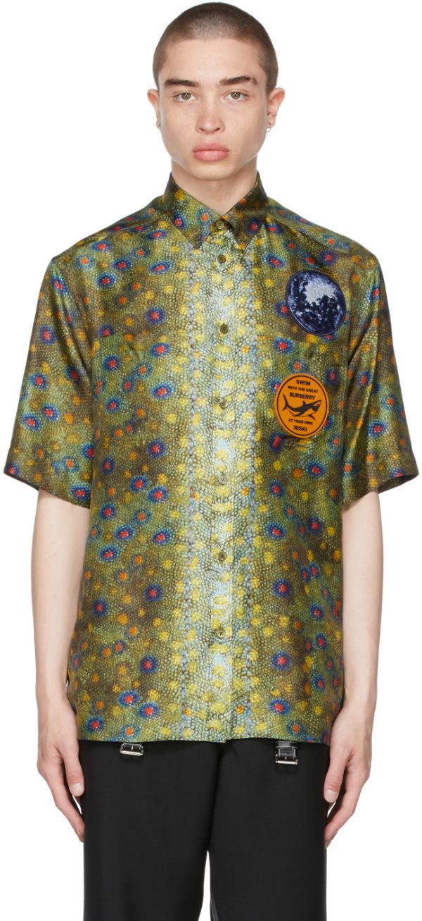 Burberry Green Graphic Appliqué Fish Scale Short Sleeve Shirt