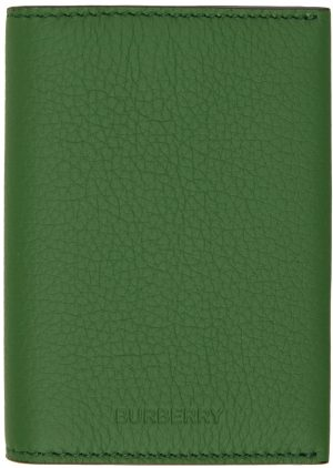 Burberry Green Leather Card Holder