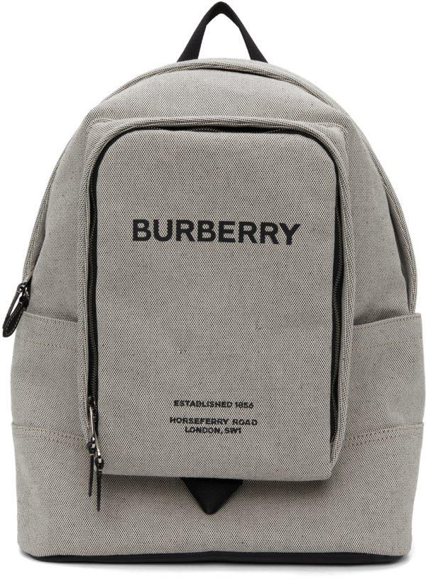 Burberry Grey Canvas Logo Jack Backpack