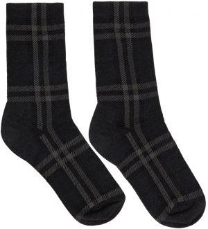 Burberry Grey Intarsia Check Mid Socks
