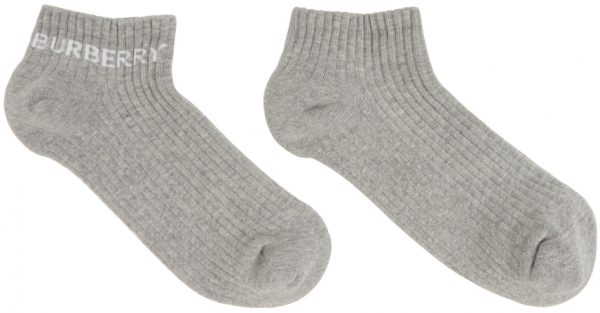 Burberry Grey Intarsia Logo Ankle Socks