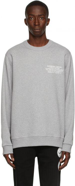 Burberry Grey Location Print Sweatshirt