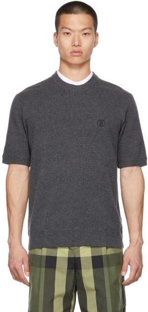 Burberry Grey Monogram Motif Cashmere T-Shirt