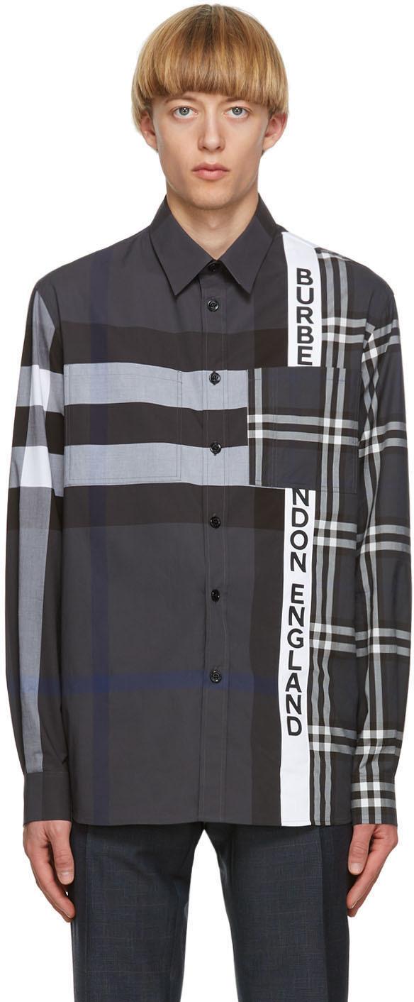 Burberry Grey Patchwork Talby Shirt