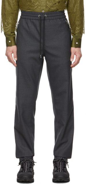 Burberry Grey Technical Wool Monogram Jogging Lounge Pants