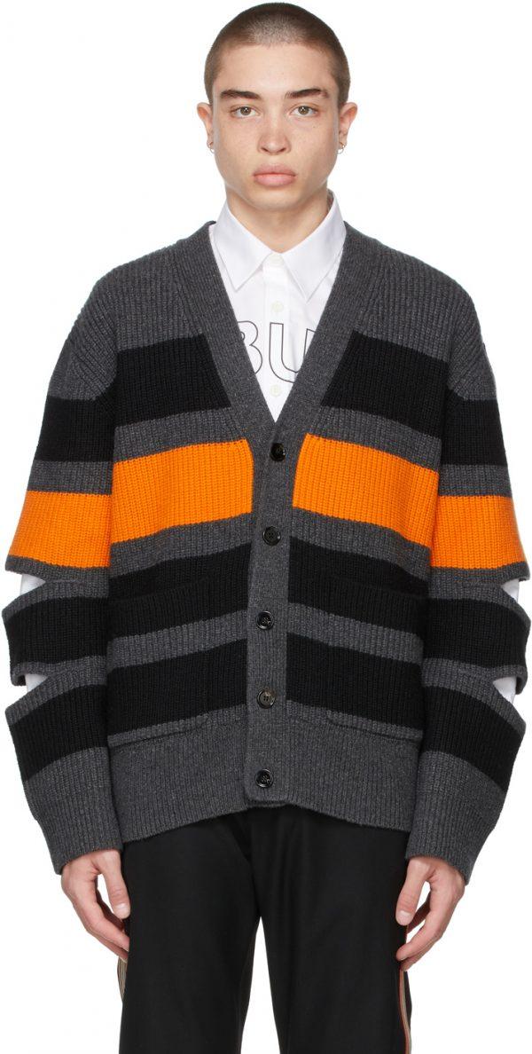 Burberry Grey Wool Cut-Out Cardigan