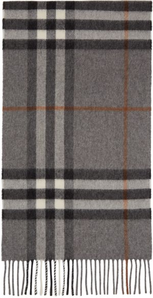 Burberry Grey & Tan Cashmere Giant Check Scarf